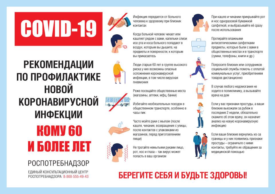 Рекомендации для граждан в возрасте от 60 и старше, как не заразиться коронавирусом