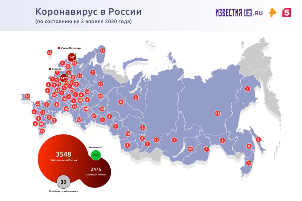 Карта распространения коронавируса в России на 2 апреля 2020