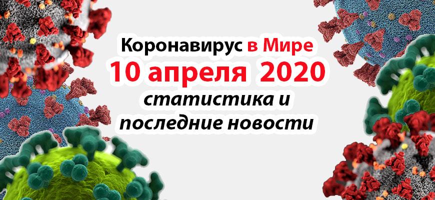 Коронавирус COVID-19 в мире статистика на 10 апреля 2020
