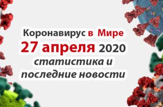 Коронавирус COVID-19 в мире статистика на 27 апреля 2020