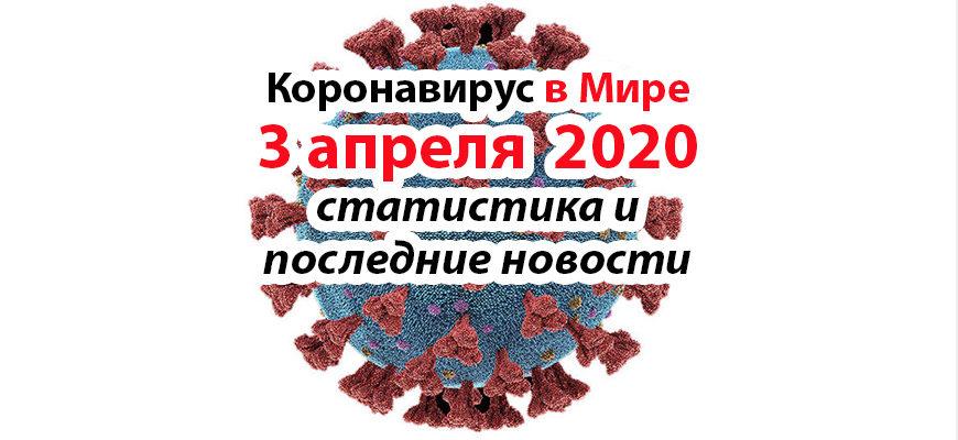 Коронавирус COVID-19 в мире статистика на 3 апреля 2020