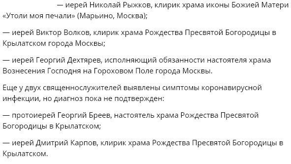 Три московских священника заразились коронавирусом