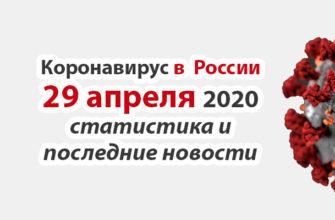 Коронавирус в России на 29 апреля 2020 года