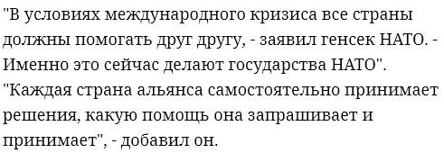 Генсек НАТО оценил помощь России в борьбе с коронавирусом другим странам.