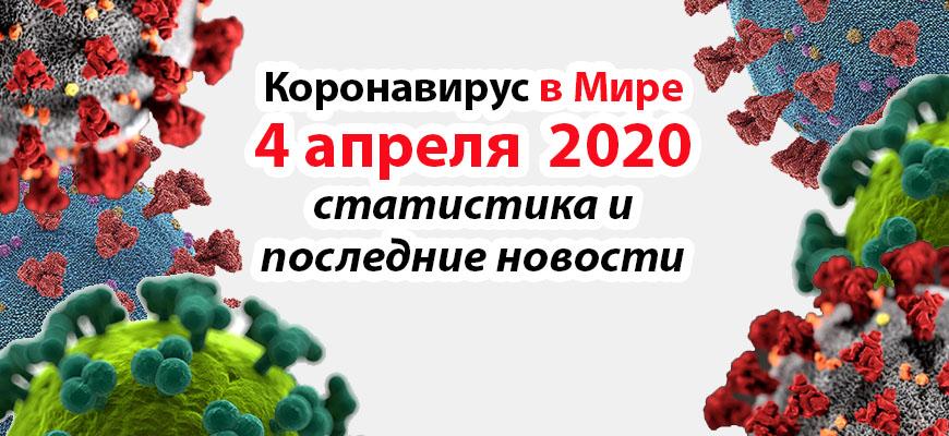 Коронавирус COVID-19 в мире статистика на 4 апреля 2020