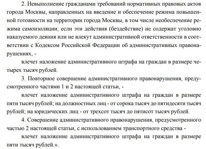 Штрафы для москвичей нарушившие режим самоизоляции.