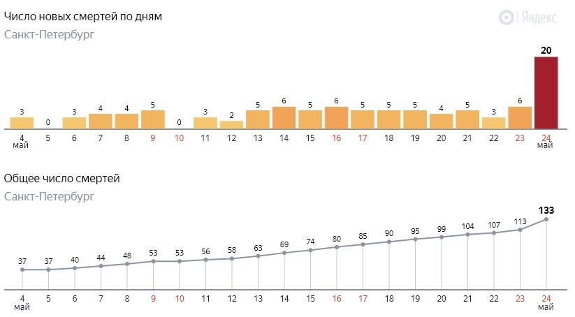 Число новых смертей от коронавируса COVID-19 по дням в Петербурге на 24 мая 2020 года