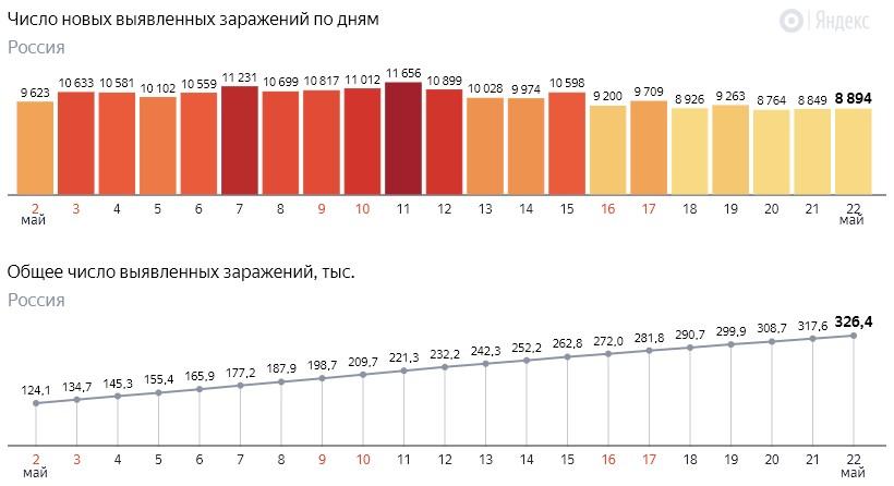 Число новых заражений коронавирусом COVID-19 по дням в России от 22 мая 2020 года