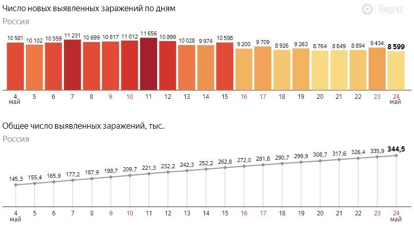 Число новых заражений коронавирусом COVID-19 по дням в России от 24 мая 2020 года
