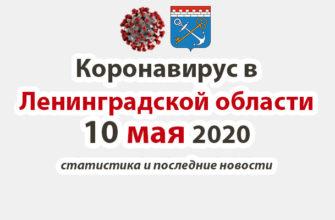 Коронавирус в Ленинградской области 10 мая 2020