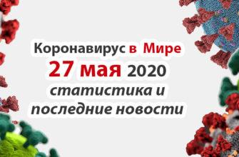 Коронавирус COVID-19 в мире статистика на 27 мая 2020