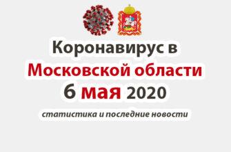 Коронавирус в Московской области на 6 мая 2020 года