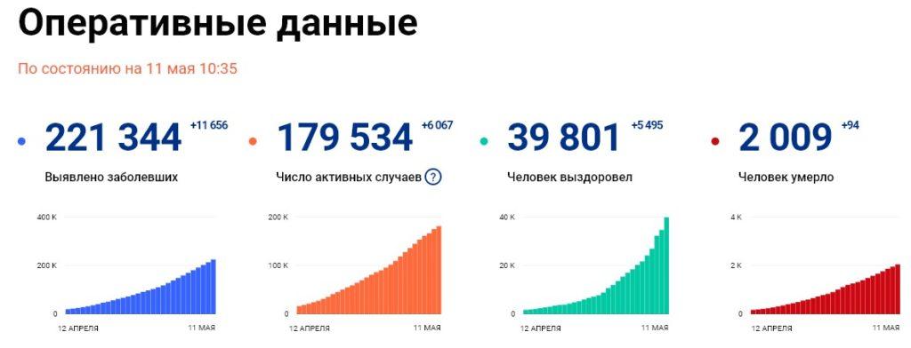 Статистика стопкоронавирус рф на 11 мая