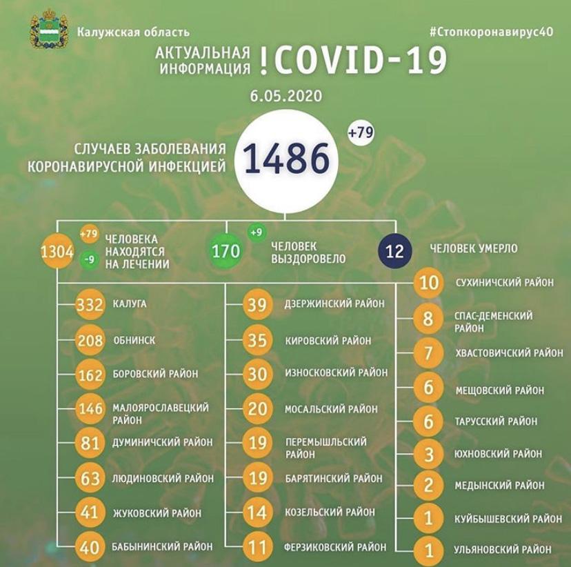 Статистика стопкоронавирус40 в Калужской области на 6 мая: сколько заболело, выздоровело, умерло с коронавирусом человек
