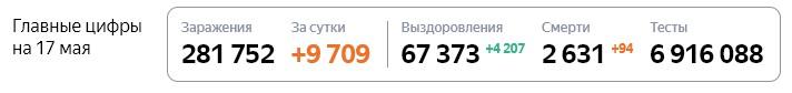 Статистика стопкоронавирус рф в России на 17 мая