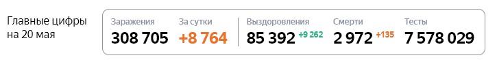 Статистика стопкоронавирус рф в России на 20 мая