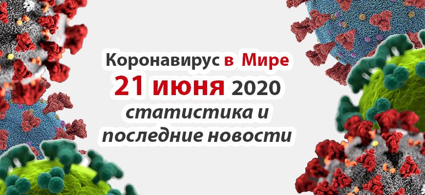 Коронавирус COVID-19 в мире статистика на 21 июня 2020