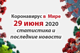 Коронавирус COVID-19 в мире статистика на 29 июня 2020