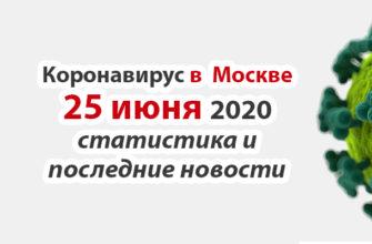 Коронавирус в Москве на 25 июня 2020 года