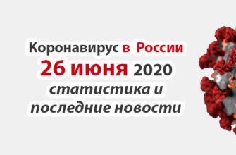 Коронавирус в России на 26 июня 2020 года