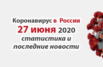 Коронавирус в России на 27 июня 2020 года