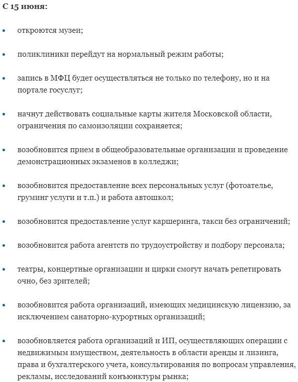 Снятие ограничений в Подмосковье с 15 июня