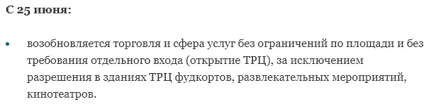 Снятие ограничений в Подмосковье с 25 июня
