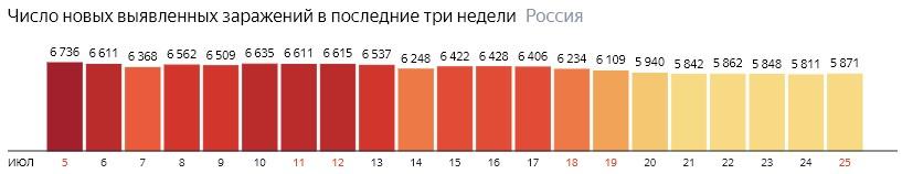 Число новых зараженных коронавирусом  по дням в России на 25 июля 2020 года