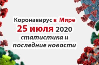 Коронавирус COVID-19 в мире статистика на 25 июля 2020