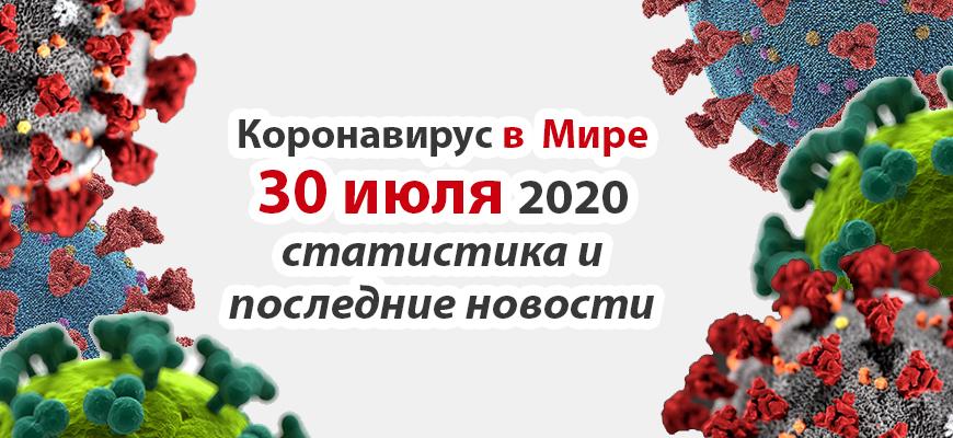 Коронавирус COVID-19 в мире статистика на 30 июля 2020