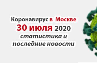 Коронавирус в Москве на 30 июля 2020 года