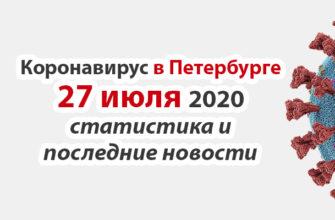 Коронавирус в Санкт-Петербурге на 27 июля 2020 года