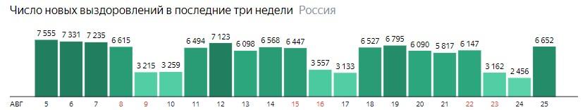 Число новых выздоровлений от короны по дням в России на 25 августа 2020 года