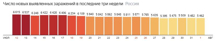 Число новых зараженных коронавирусом  по дням в России на 1 августа 2020 года