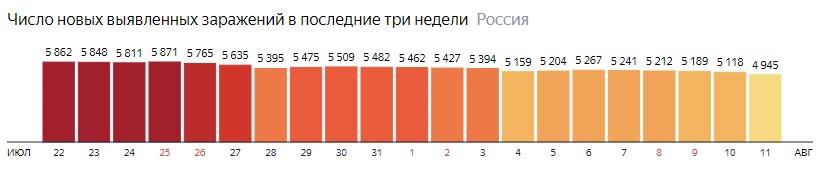 Число новых зараженных коронавирусом  по дням в России на 11 августа 2020 года