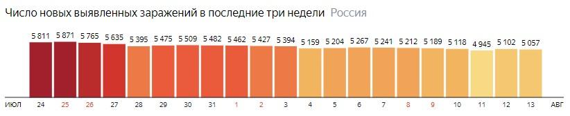Число новых зараженных коронавирусом  по дням в России на 13 августа 2020 года