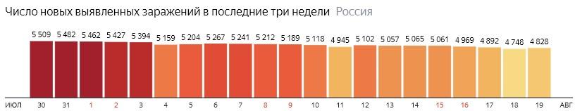 Число новых зараженных коронавирусом  по дням в России на 19 августа 2020 года