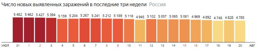Число новых зараженных коронавирусом  по дням в России на 20 августа 2020 года