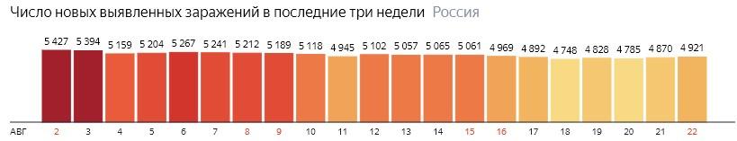 Число новых зараженных коронавирусом  по дням в России на 22 августа 2020 года