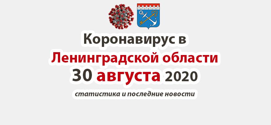 Коронавирус в Ленинградской области 30 августа 2020