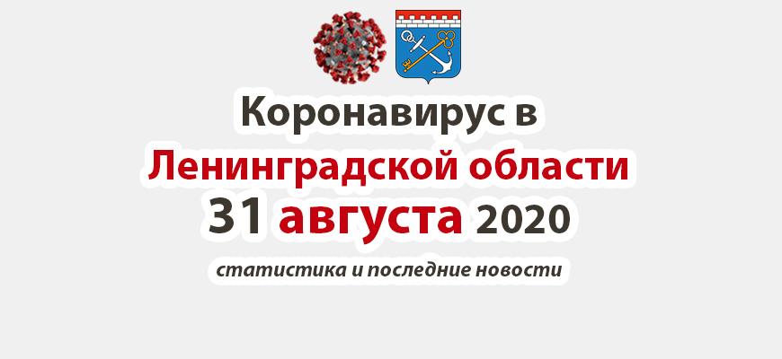 Коронавирус в Ленинградской области 31 августа 2020