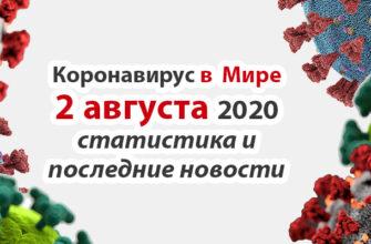 Коронавирус COVID-19 в мире статистика на 2 августа 2020