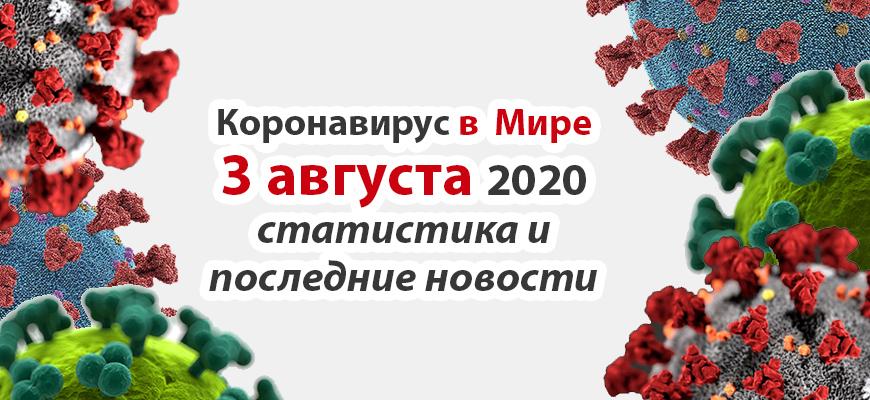 Коронавирус COVID-19 в мире статистика на 3 августа 2020