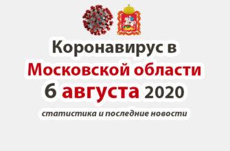 Коронавирус в Московской области на 6 августа 2020 года