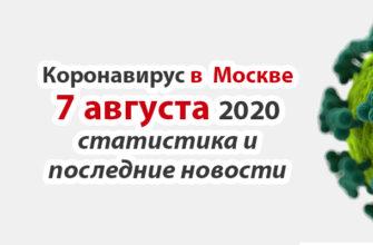 Коронавирус в Москве на 7 августа 2020 года