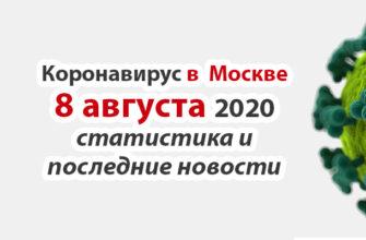 Коронавирус в Москве на 8 августа 2020 года