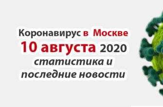Коронавирус в Москве на 10 августа 2020 года