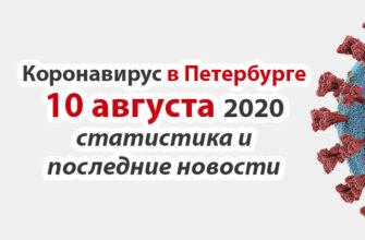 Коронавирус в Санкт-Петербурге на 10 августа 2020 года