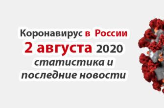 Коронавирус в России на 2 августа 2020 года