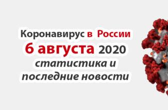Коронавирус в России на 6 августа 2020 года